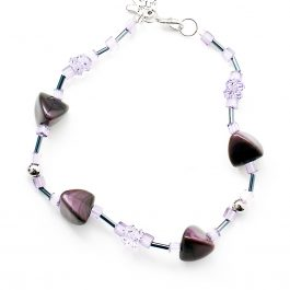 Beads and Bobbles Anklet Purple