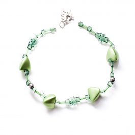 Beads and Bobbles Anklet Green